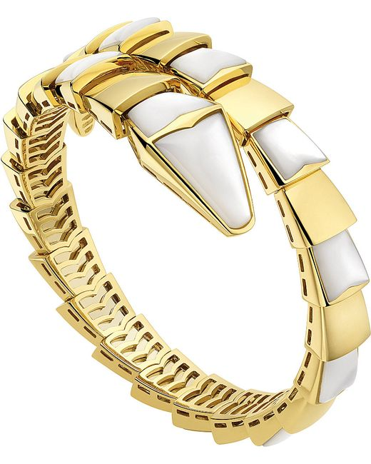 BVLGARI | Metallic Serpenti 18kt Yellow-gold And Mother-of-pearl Bracelet | Lyst
