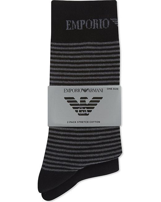 Emporio Armani | Black Plain And Striped Socks 2-pack for Men | Lyst