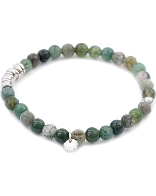 Tateossian | Green Silver Disc Beaded Bracelet for Men | Lyst