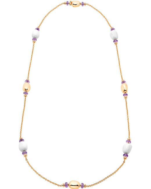 BVLGARI | Metallic Mediterranean Eden Sautoir 18kt Pink-gold Necklace With White Ceramic And Amethyst Beads | Lyst