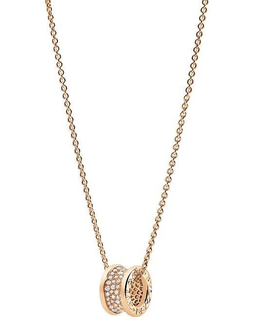 BVLGARI | B.zero1 18kt Pink-gold And Diamond Necklace | Lyst