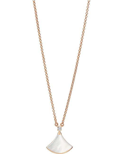 BVLGARI | Metallic Divas' Dream 18kt Pink-gold With Mother Of Pearl And Pavé Diamonds Necklace | Lyst