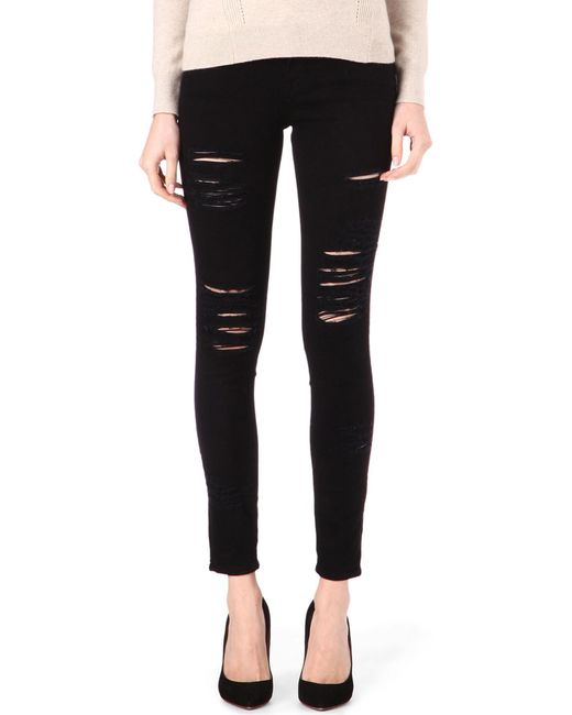FRAME | Black Le Skinny De Jeanne Skinny Mid-rise Jeans | Lyst