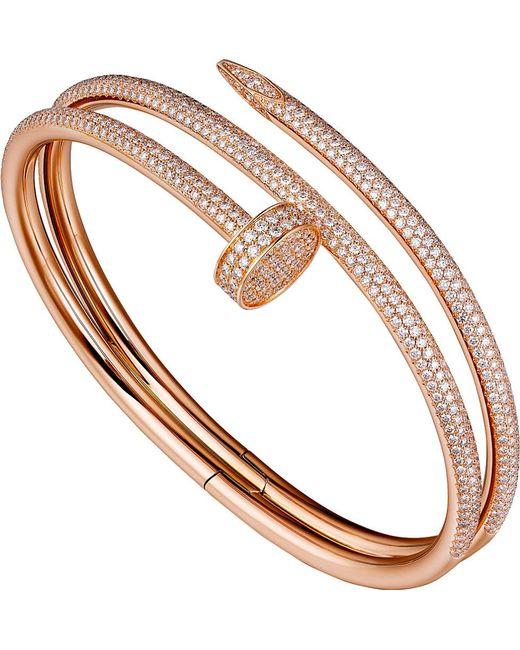Cartier | Juste Un Clou 18ct Pink-gold And Diamond Double Bracelet | Lyst