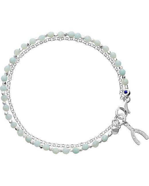 Astley Clarke | Blue Wishbone Sterling Silver Amazonite Friendship Bracelet | Lyst