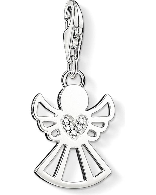 Thomas Sabo | White Charm Club Angel Diamond Pendant | Lyst