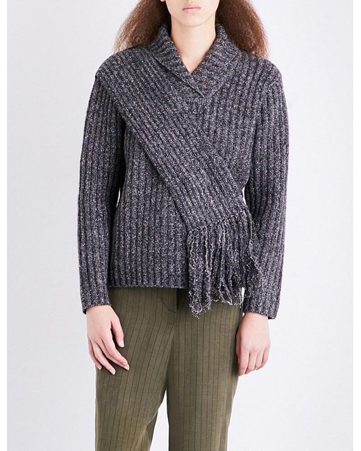 Craig Green | Gray Scarf-panel Ribbed Fisherman-knit Jumper | Lyst
