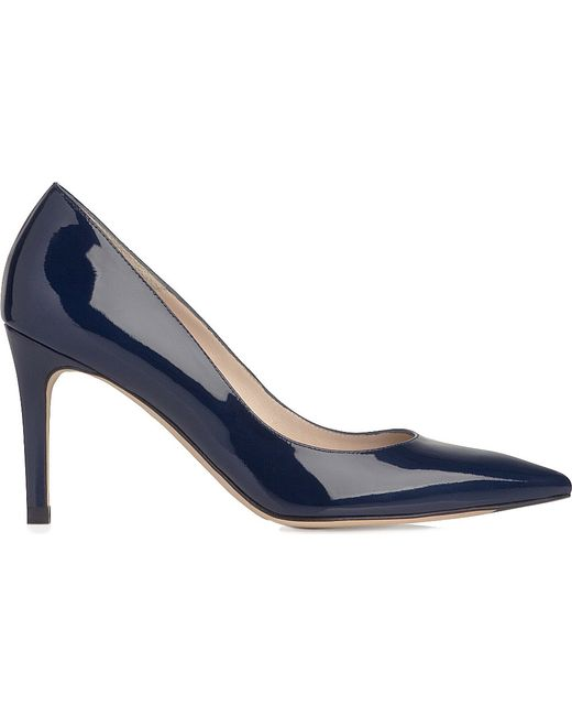 L.K.Bennett | Blue Floret Pointed Leather Courts | Lyst