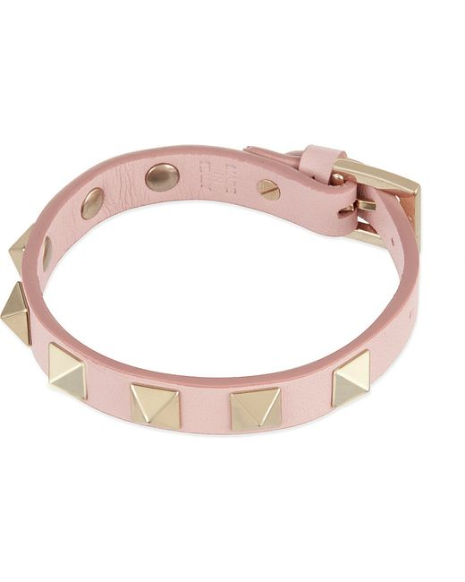 Valentino | Pink Rockstud Small Leather Bracelet | Lyst