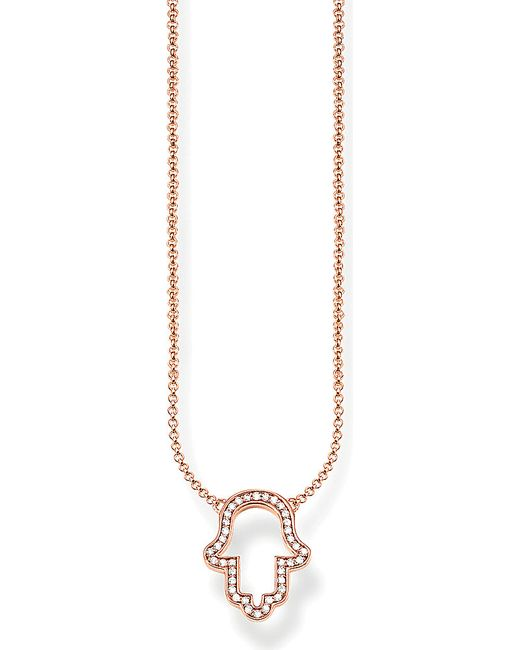 Thomas Sabo | Pink Fatima's Garden Hand Of Fatima 18ct Rose-gold Plated Sterling Silver And Pavé Zirconia Necklace | Lyst