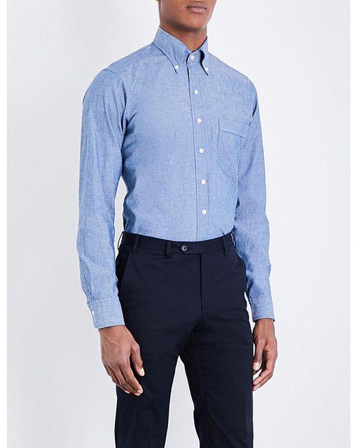 Drake's | Blue Regular-fit Chambray Shirt for Men | Lyst