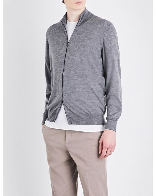 Brunello Cucinelli | Gray Zip-up Cashmere Cardigan for Men | Lyst