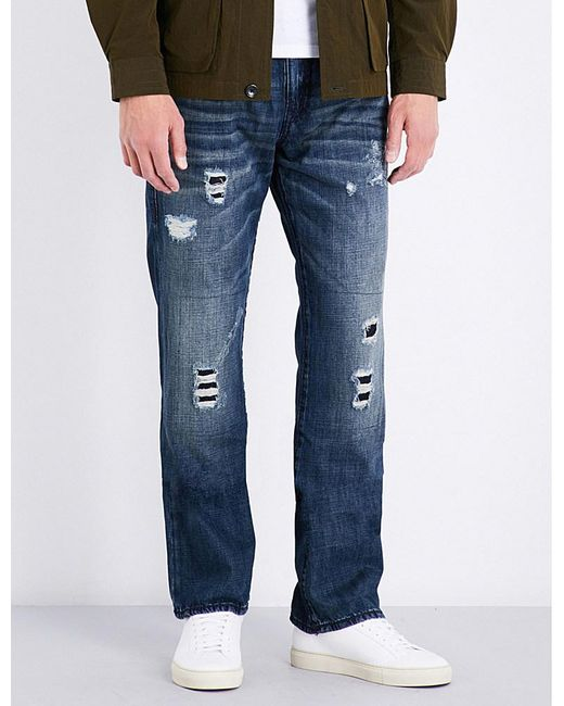 True religion Mens Distressed Iconic Ricky Relaxed-fit ...