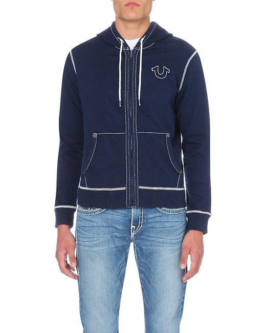 True Religion | Blue Stitching-detail Jersey Hoody for Men | Lyst