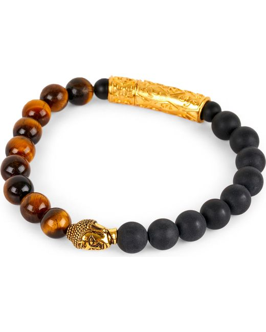 Nialaya | Black 18ct Gold Buddha Beaded Bracelet | Lyst