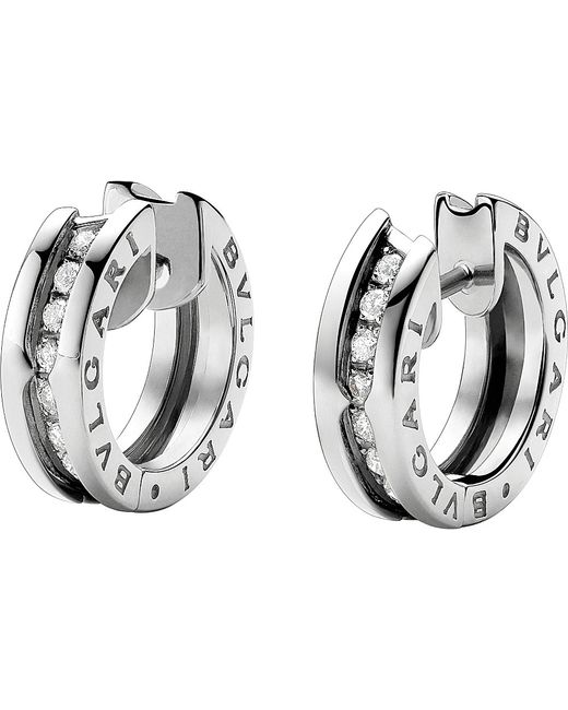 BVLGARI | Metallic B.zero1 18kt White-gold And Diamond Earrings | Lyst