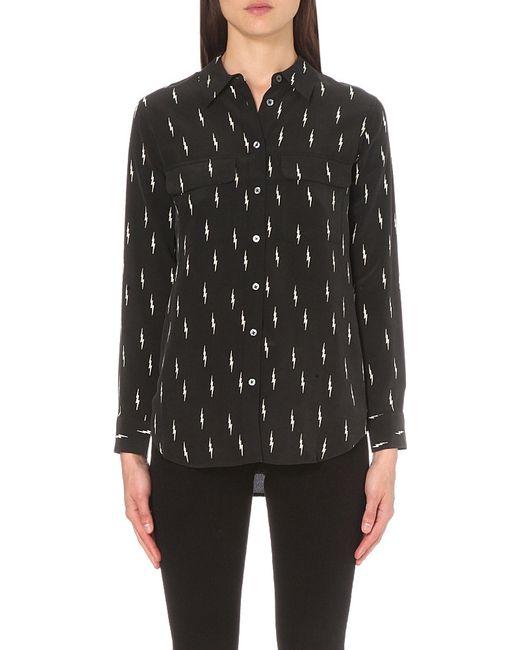 Lyst equipment slim signature lightning print silk shirt for Equipment black silk shirt