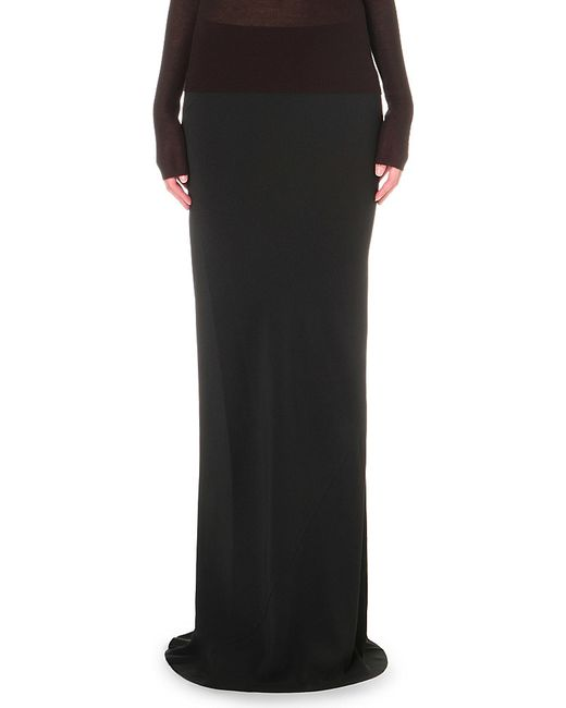 rick owens cady cotton jersey maxi skirt in black lyst