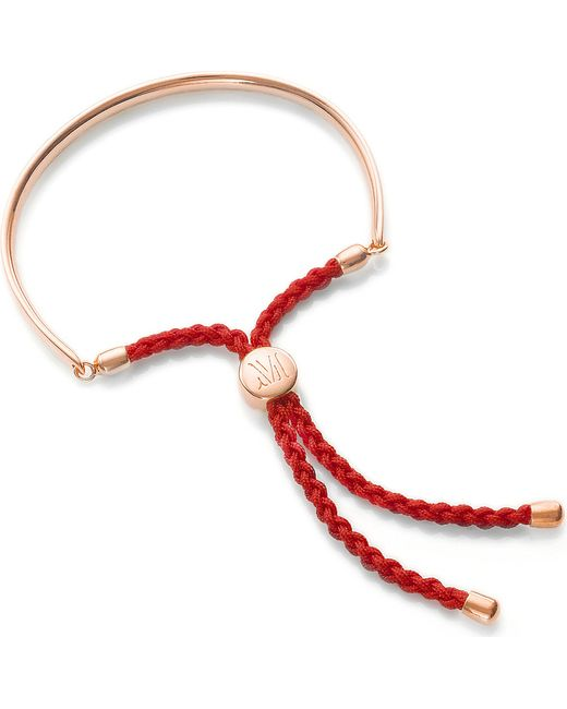 Monica Vinader | Metallic Fiji 18ct Rose Gold-plated Friendship Bracelet | Lyst
