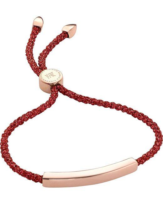 Monica Vinader | Red Linear 18ct Rose Gold-plated Friendship Bracelet | Lyst