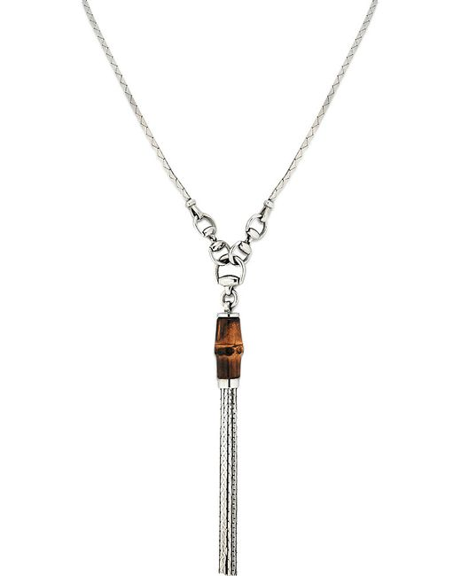 Gucci   Metallic Bamboo Sterling Silver Pendant Necklace   Lyst