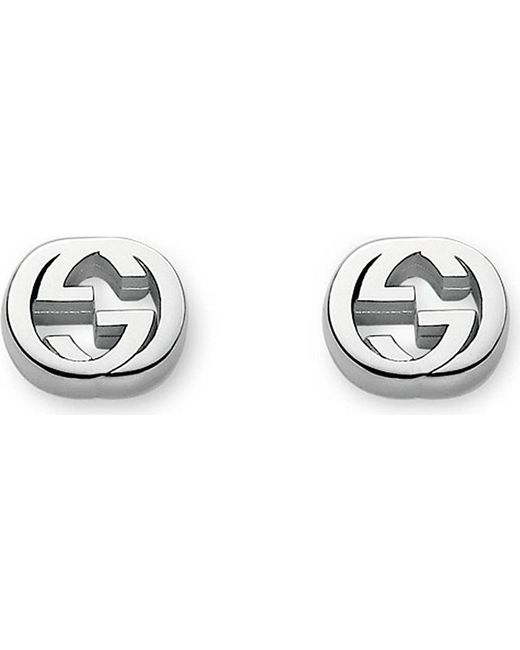 Gucci | Metallic Interlocking G Sterling Silver Stud Earrings | Lyst