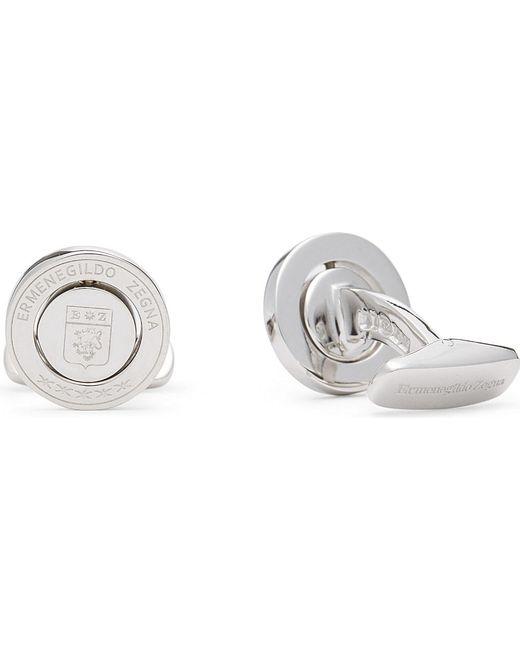 Ermenegildo Zegna | Metallic Logo Rotating Frame Sterling Silver Cufflinks for Men | Lyst
