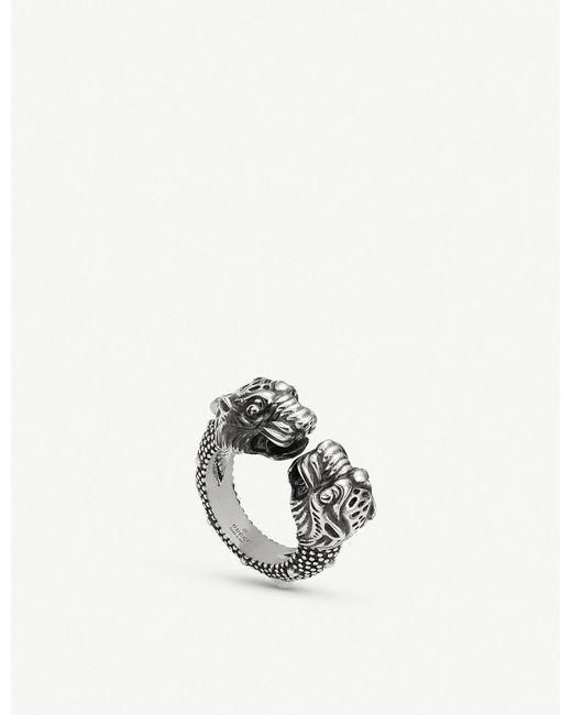 Gucci - Metallic Garden Tiger Sterling Silver Ring - Lyst
