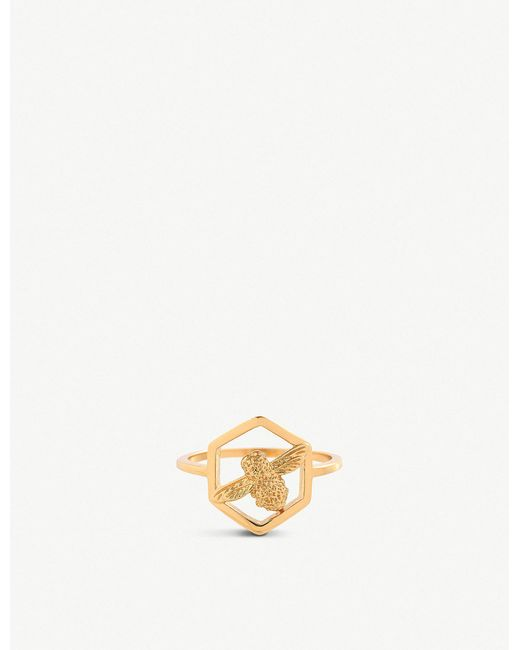 Olivia Burton - Metallic Honeycomb Bee Ring - Lyst