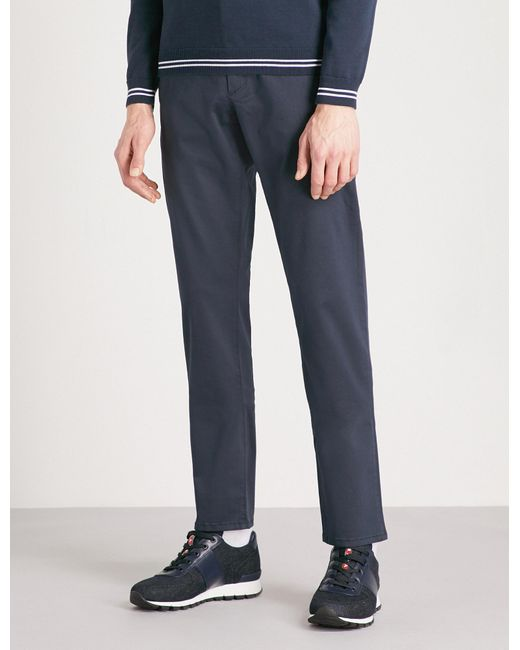 BOSS Green - Blue Regular-fit Tapered Cotton-blend Chinos for Men - Lyst