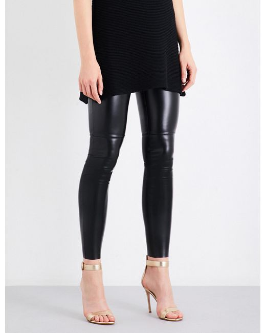 Wolford | Black Estella Leatherette Leggings | Lyst