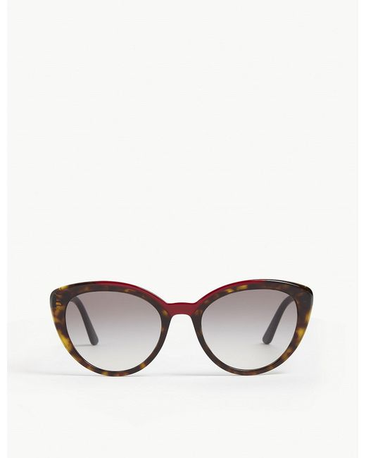 3af88af274f Lyst - Prada Pr02v Cat-eye-frame Sunglasses in Brown