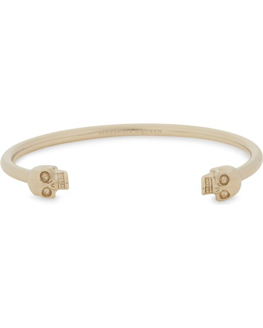 Alexander McQueen - Metallic Twin Skull Bangle Bracelet - Lyst
