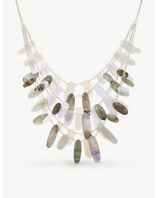 Kendra Scott - Metallic Shell And Acrylic Silver-plated Brass Patricia Necklace - Lyst