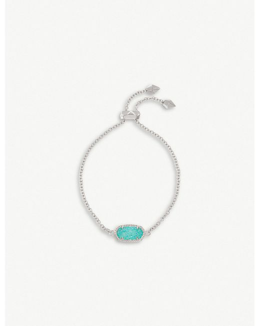 Kendra Scott - Blue Elaina Rhodium-plated And Teal Drusy Chain Bracelet - Lyst