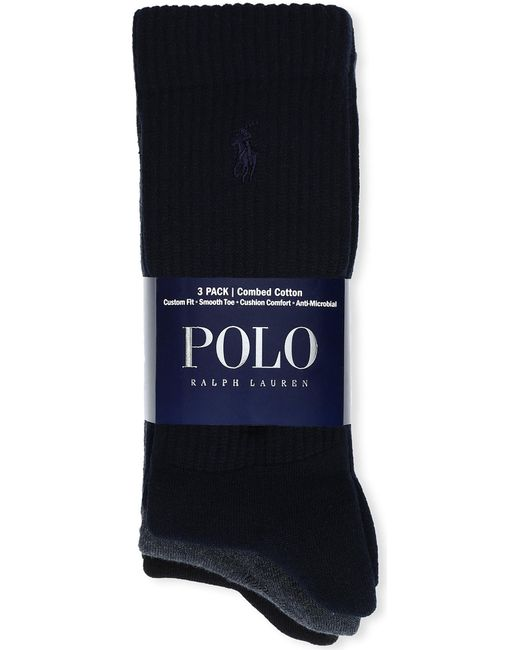 Polo Ralph Lauren - Blue Set Of Three Combed Cotton Socks for Men - Lyst