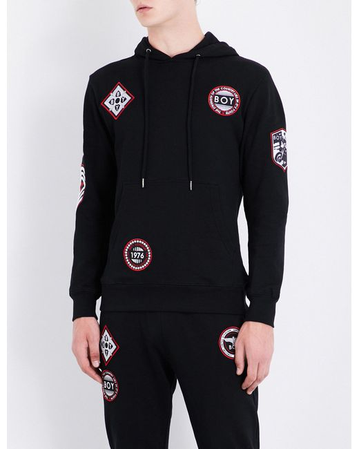 BOY London - Black Patch-detailed Cotton-jersey Hoody for Men - Lyst