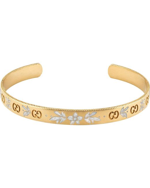 Gucci - Black Icon Blossom 18ct Yellow Gold Bracelet - Lyst
