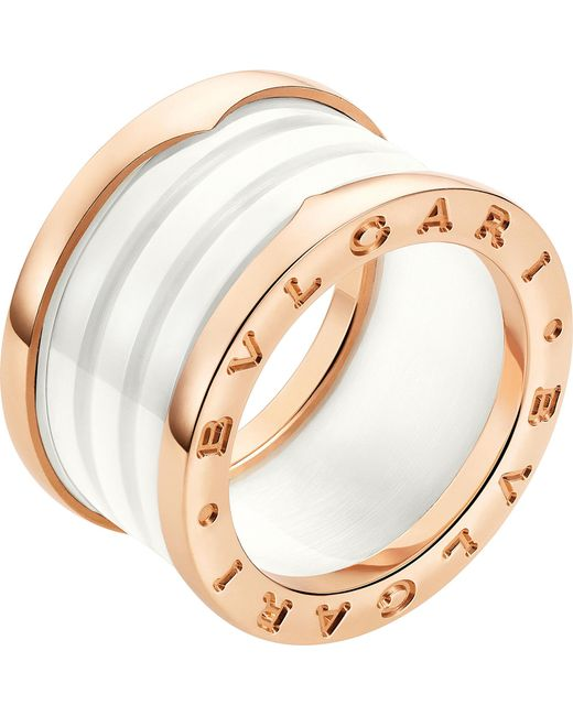 "BVLGARI - 18k Pink Gold & White Ceramic ""b.zero1"" 2-band Ring - Lyst"
