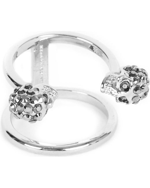 Alexander McQueen | Metallic Twin Skull Silver-plated Double Band Ring | Lyst
