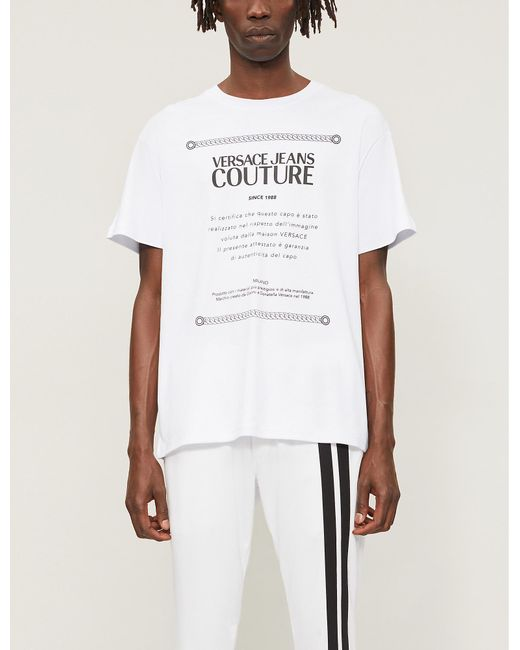 5999a25b Versace Jeans Etichetta Label Print T-shirt in White for Men - Lyst