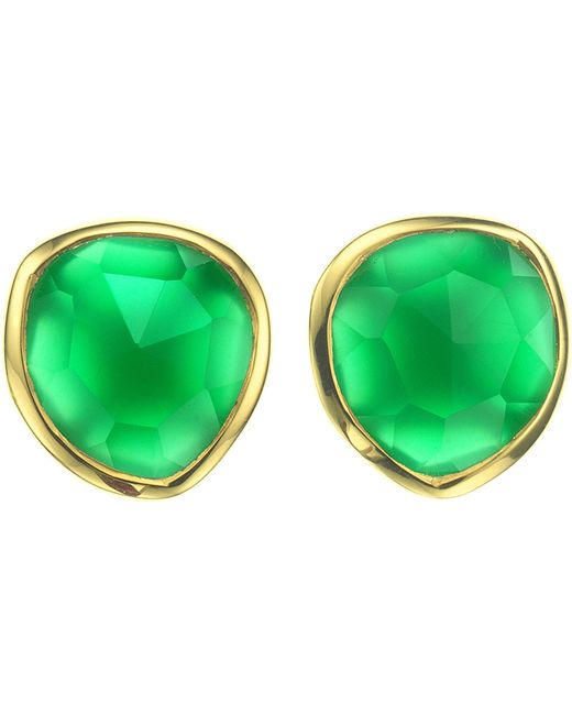 Monica Vinader - Siren 18ct Gold-plated Vermeil And Green Onyx Stud Earrings - Lyst
