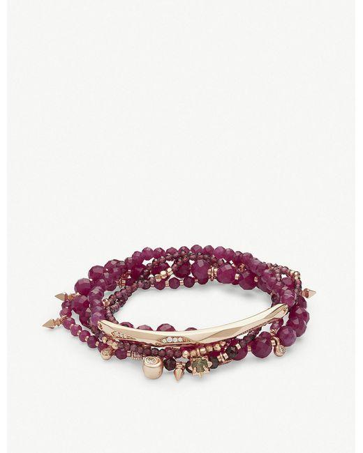 Kendra Scott - Multicolor Supak 14ct Rose Gold-plated And Maroon Jade Beaded Bracelet - Lyst