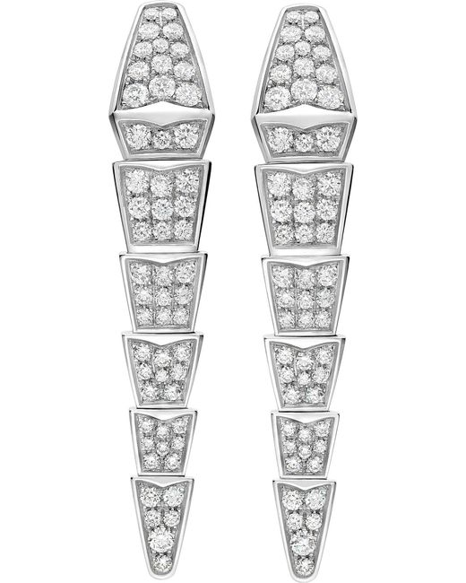 BVLGARI - Metallic Serpenti 18kt White-gold Earrings With Full Pavé Diamonds - Lyst