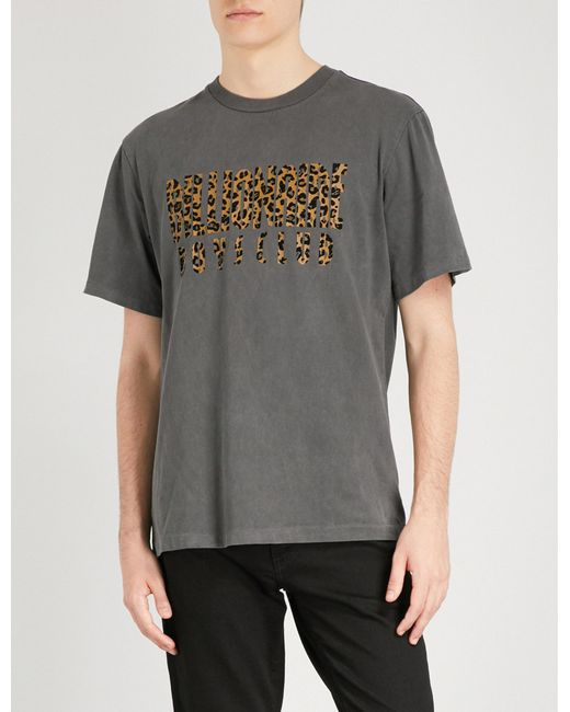 BBCICECREAM - Black Leopard Logo Cotton-jersey T-shirt for Men - Lyst