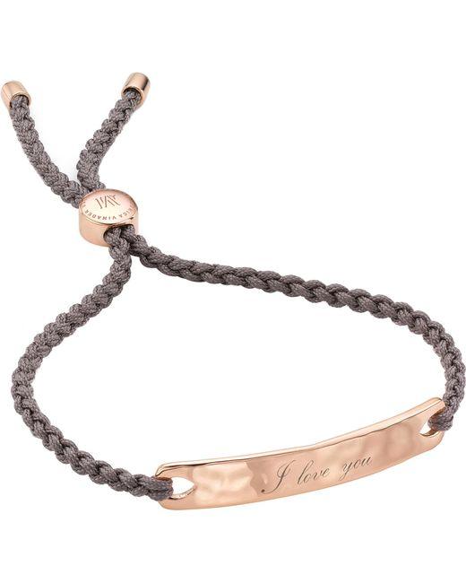 Monica Vinader - Black Havana 18ct Rose Gold-plated Friendship Bracelet - Lyst