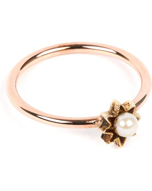 Annina Vogel | Metallic 9 Carat Gold And Pearl Star Ring | Lyst