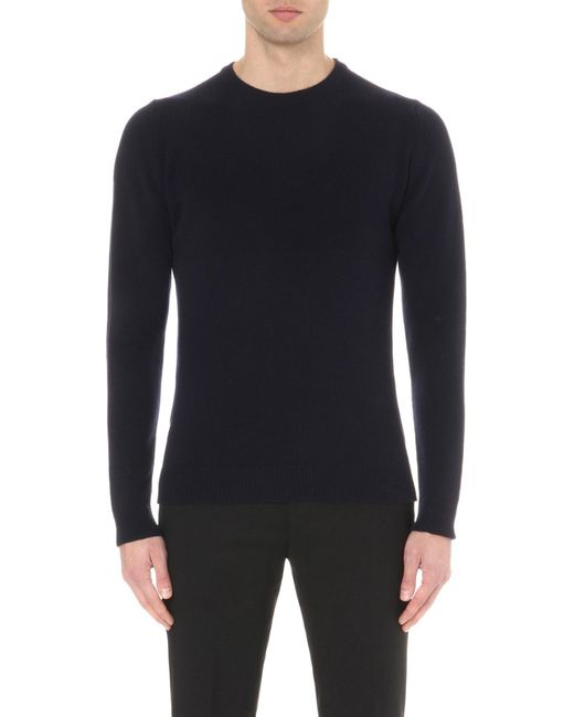 John Smedley - Blue Crowford Wool And Cashmere-blend Jumper for Men - Lyst