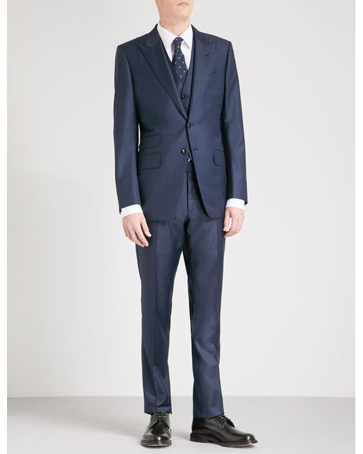 Tom Ford Blue Classic-fit Three-piece Wool Suit for men