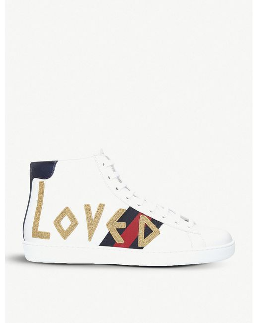 f0521d806 Gucci - White New Ace Embroidered Leather High-top Trainers for Men - Lyst